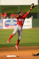 Second baseman Harold Garcia #34 of the Lakewood BlueClaws leaps for a high throw at Fieldcrest Cannon Stadium May 16, 2009 in Kannapolis, North Carolina. (Photo by Brian Westerholt / Four Seam Images)