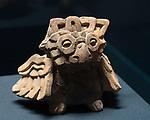 A ceramic owl from the ruins of the Zapotec city of Atzompa in the Museo Comunitario Santa Maria Atzompa, Oaxaca, Mexico.