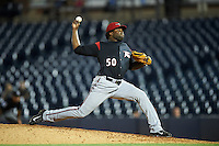 Richmond Flying Squirrels relief pitcher Rodolfo Martinez (50) during a game against the Akron RubberDucks on July 26, 2016 at Canal Park in Akron, Ohio .  Richmond defeated Akron 10-4.  (Mike Janes/Four Seam Images)