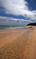Empty beach, Playa de Sotavento de Jandia, Fuerteventura, Canary Islands, Spain. May 2007.