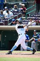 David Fletcher (22) of the Inland Empire 66ers bats against the Rancho Cucamonga Quakes at San Manuel Stadium on April 27, 2016 in San Bernardino, California. Rancho Cucamonga defeated Inland Empire, 2-1. (Larry Goren/Four Seam Images)