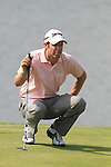 Bradley Dredge lines up his putt on the 13th on day two of the Celtic Manor wales Open 2010.Picture Fran Caffrey/Newsfile.ie