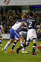 Lukas Jutkiewicz of Birmingham City is man-handled by Conor McLaughlin of Millwall during the Sky Bet Championship match between Millwall and Birmingham City at The Den, London, England on 21 October 2017. Photo by Carlton Myrie.