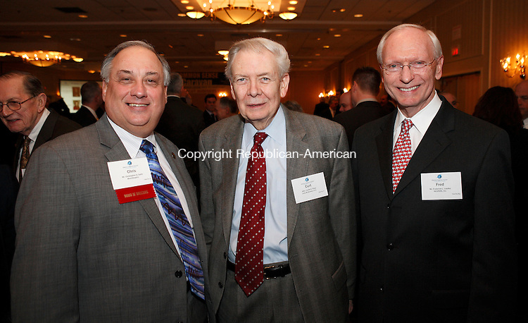 Southbury, CT-23, February 2010-022310CM05  SOCIAL MOMENTS at the 2010 Legislative Dinner at the Crowne Plaza in Southbury.  Attending were: L-R Chris Gallo, Shelton, Curt Titus, Southbury and Fred Luedke, Waterbury. --Christopher Massa Republican-American