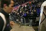 Birmingham City 0 Liverpool 7, 21/03/2006. St Andrews, FA Cup 6th Round. Birmingham City (blue) versus Liverpool,  The home side lost 0-7. Picture shows young City fans watch their heroes leave the pitch after the pre-match warm up. Photo by Colin McPherson.