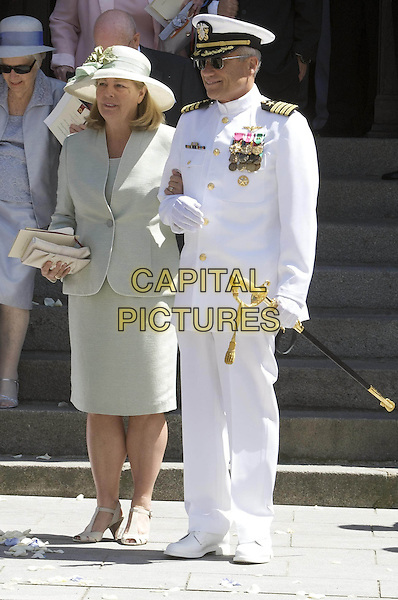CHERYL RONDESTVEDT & CAPTAIN CHRISTIAN ROBERT RONDESTVEDT.Wedding of Hereditary Prince Hubertus of Sax -Coburg and Gotha and Kelly Rondestvedt in Coburg, Germany..May 23rd, 2009.marriage royal full length mother father dad mom mum dad groom white green uniform hat.CAP/PPG/JH.©Jens Hartmann/People Picture/Capital Pictures