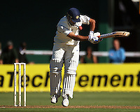 India captain MS Dhoni bats during day one of the 3rd test between the New Zealand Black Caps and India at Allied Prime Basin Reserve, Wellington, New Zealand on Friday, 3 April 2009. Photo: Dave Lintott / lintottphoto.co.nz