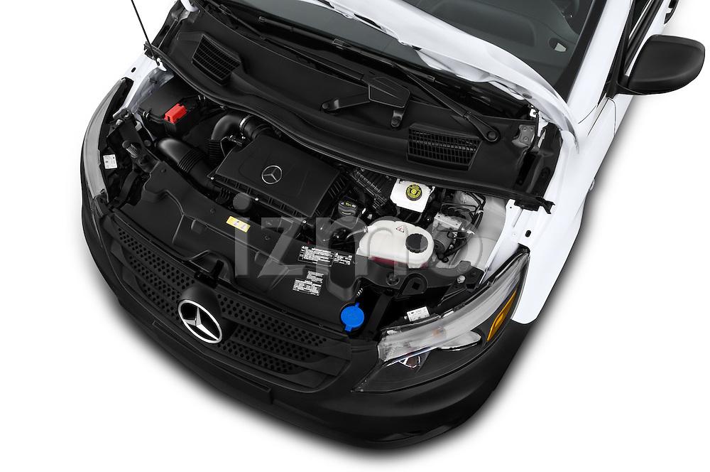 Car Stock 2018 Mercedes Benz Metris Cargo-Van 4 Door Cargo Van Engine  high angle detail view