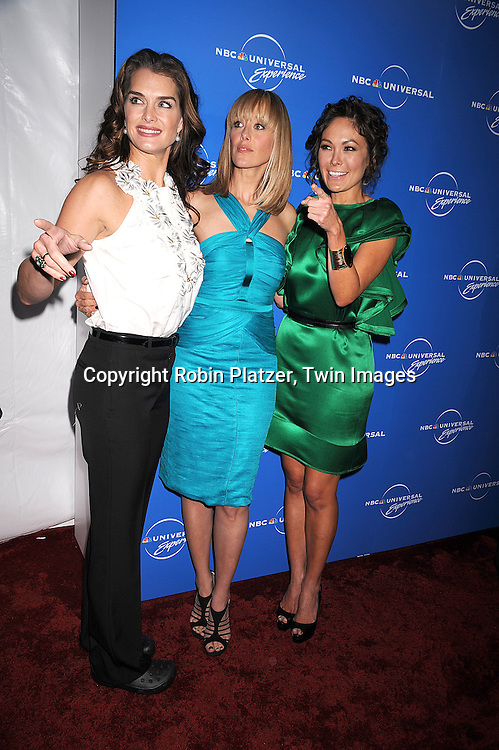 """cast of """"Lipstick Jungle"""" Brooke Shields, Kim Raver, Lindsay Price ..posing for photographers at The NBC Universal Experience of their Fall 2008-2009 schedule on May 12, 2008 at Rockefeller Center. Stars from NBC, USA, Bravo, Scifi, Oxygen, Telemundo and mun2 were there. ....Robin Platzer, Twin Images"""
