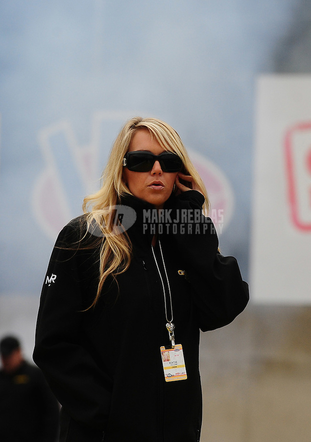 Sept. 30, 2011; Mohnton, PA, USA: Katie Pallone , girlfriend of NHRA top fuel dragster driver Morgan Lucas (not pictured) during qualifying for the Auto Plus Nationals at Maple Grove Raceway. Mandatory Credit: Mark J. Rebilas-
