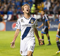 SANTA CLARA, CA - Wednesday November 7, 2012: LA Galaxy midfielder Mike Magee (18) celebrates his goal during the San Jose Earthquakes vs the LA Galaxy at Buck Shaw Stadium in Santa Clara, CA. Final score, San Jose Earthquakes 1 and LA Galaxy 3. Total aggregate score San Jose Earthquakes 2 and LA Galaxy 3.