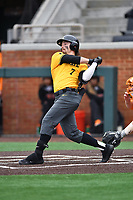 Appalachian State Mountaineers center fielder CJ Brown (7) swings at a pitch during a game against the Tennessee Volunteers at Lindsey Nelson Stadium on February 16, 2019 in Knoxville, Tennessee. The Volunteers defeated Mountaineers 2-0. (Tony Farlow/Four Seam Images)