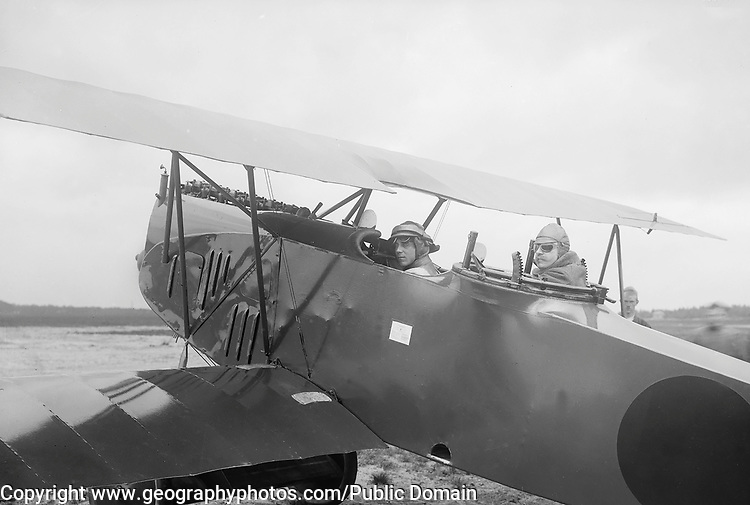 Early aviation history circa 1915 Netherlands two pilots in bi-plane