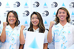 (L-R) <br /> Nagisa Tashiro, <br /> Nao Omura, <br /> Hiroto Arai, <br /> AUGUST 4, 2016 - Surfing : <br /> Nippon Surfing Association holds a press conference after it was decided that <br /> the sport of surfing would be added to the Tokyo 2020 Summer Olympic Games on August 3rd, 2016 <br /> in Tokyo, Japan. <br /> (Photo by AFLO SPORT)