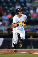 Bradenton Marauders catcher Reese McGuire (7) runs to first during a game against the St. Lucie Mets on April 11, 2015 at McKechnie Field in Bradenton, Florida.  St. Lucie defeated Bradenton 3-2.  (Mike Janes/Four Seam Images)