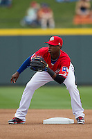 Round Rock Express second baseman Jurickson Profar #10 in action against the Omaha Storm Chasers in the Pacific Coast League baseball game on April 7, 2013 at the Dell Diamond in Round Rock, Texas. Omaha beat Round Rock 5-2, handing the Express their first loss of the season. (Andrew Woolley/Four Seam Images).