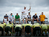 "Crossing the line ceremony AKA ""Wog Day"" aboard USS Carl Vinson (CVN 70) as the ship crosses the equator and international date lines simultaneously. All who participated were made ""Golden Shellbacks."""