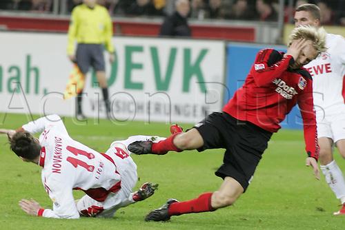 Bayer Leverkusen v FC Cologne. Milivoje Novakovic Cologne left clashes heads with Sami Hyypia. Photo: Imago/Actionplus. Editorial Use UK.