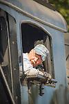 Essex, CT Steam Train excursion. Engineer backing up locomotive.