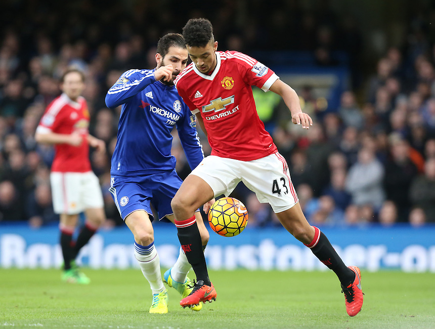 Manchester United's Cameron Borthwick-Jackson in action during todays match  <br /> Photographer Kieran Galvin/CameraSport<br /> <br /> Football - Barclays Premiership - Chelsea v Manchester United - Sunday 7th February 2016 - Stamford Bridge - London<br /> <br /> &copy; CameraSport - 43 Linden Ave. Countesthorpe. Leicester. England. LE8 5PG - Tel: +44 (0) 116 277 4147 - admin@camerasport.com - www.camerasport.com