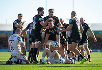Exeter Chiefs' Ollie Devoto celebrates scoring his sides first try<br /> <br /> Photographer Bob Bradford/CameraSport<br /> <br /> Premiership Rugby Cup - Exeter Chiefs v Bath Rugby - Sunday 24th March 2019 - Sandy Park - Exeter<br /> <br /> World Copyright © 2018 CameraSport. All rights reserved. 43 Linden Ave. Countesthorpe. Leicester. England. LE8 5PG - Tel: +44 (0) 116 277 4147 - admin@camerasport.com - www.camerasport.com
