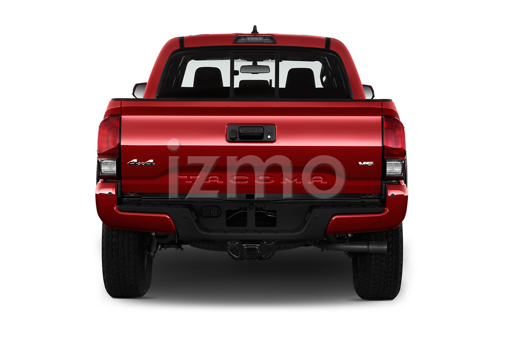 Straight rear view of 2016 Toyota Tacoma TRD Off Road Double 4 Door Pick Up stock images