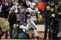 11 November 2006: Bo McNally returns an interception 49 yards for a touchdown during Stanford's 20-3 win over the Washington Huskies in Seattle, WA.