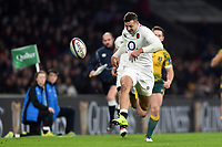 Jonny May of England puts boot to ball. Quilter International match between England and Australia on November 24, 2018 at Twickenham Stadium in London, England. Photo by: Patrick Khachfe / Onside Images