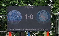 Half Time Score on the board during the pre season friendly match between Aldershot Town and Wycombe Wanderers at the EBB Stadium, Aldershot, England on 22 July 2017. Photo by Andy Rowland.