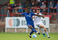 Joseph Colley of Chelsea U23 holds off Matt McClure of Aldershot Town during the pre season friendly match between Aldershot Town and Chelsea U23 at the EBB Stadium, Aldershot, England on 19 July 2017. Photo by Andy Rowland / PRiME Media Images.