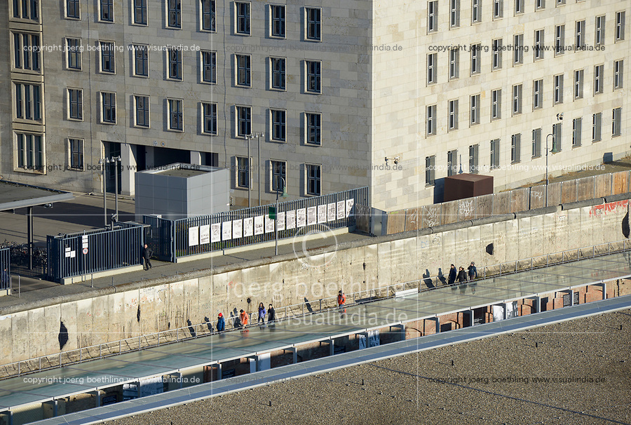 GERMANY, capital city Berlin, Museum Topograhie des Terrors, museum topography of terror documentating Nazi terror from 1933-1945, behind section of Berlin wall and german ministry of finance, this building was during Nazi time the headquarter of Reichsluftfahrtministerium, Nazi aviation ministry