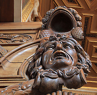 Sculpted wooden Medusa head from the door between the horseshoe vestibule and the Galerie Francois I, Chateau de Fontainebleau, France. The Galerie Francois I was begun in 1528 and was the first great gallery in France and the origination of the Renaissance style in France. The Palace of Fontainebleau is one of the largest French royal palaces and was begun in the early 16th century for Francois I. It was listed as a UNESCO World Heritage Site in 1981. Picture by Manuel Cohen