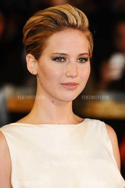 "Jennifer Lawrence arriving for the World Premiere of ""The Hunger Games: Catching Fire"" in Leicester Square, London. 11/11/2013 Picture by: Steve Vas / Featureflash"
