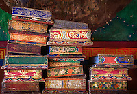 Sacred Buddhist texts in Rizong Monastery or Rizong Gonpa,  Jammu and Kashmir,  India