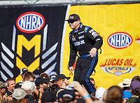 Aug 21, 2016; Brainerd, MN, USA; NHRA top fuel driver Richie Crampton during the Lucas Oil Nationals at Brainerd International Raceway. Mandatory Credit: Mark J. Rebilas-USA TODAY Sports
