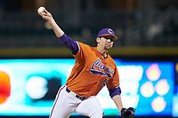 Clemson Tigers starting pitcher Brooks Crawford (19) delivers a pitch to the plate against the Charlotte 49ers at BB&T BallPark on March 26, 2019 in Charlotte, North Carolina. The Tigers defeated the 49ers 8-5. (Brian Westerholt/Four Seam Images)