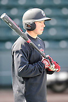 Outfielder Jared Williams (3) of the South Carolina Gamecocks prior to the Reedy River Rivalry game against the Clemson Tigers on Saturday, February 28, 2015, at Fluor Field at the West End in Greenville, South Carolina. South Carolina won, 4-1. (Tom Priddy/Four Seam Images)