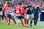 Atletico de Madrid Thomas Teye and Sime Vrsaljko and Athletic Club Mikel Vesga during La Liga match between Atletico de Madrid and Athletic Club and Wanda Metropolitano in Madrid , Spain. February 18, 2018. (ALTERPHOTOS/Borja B.Hojas)
