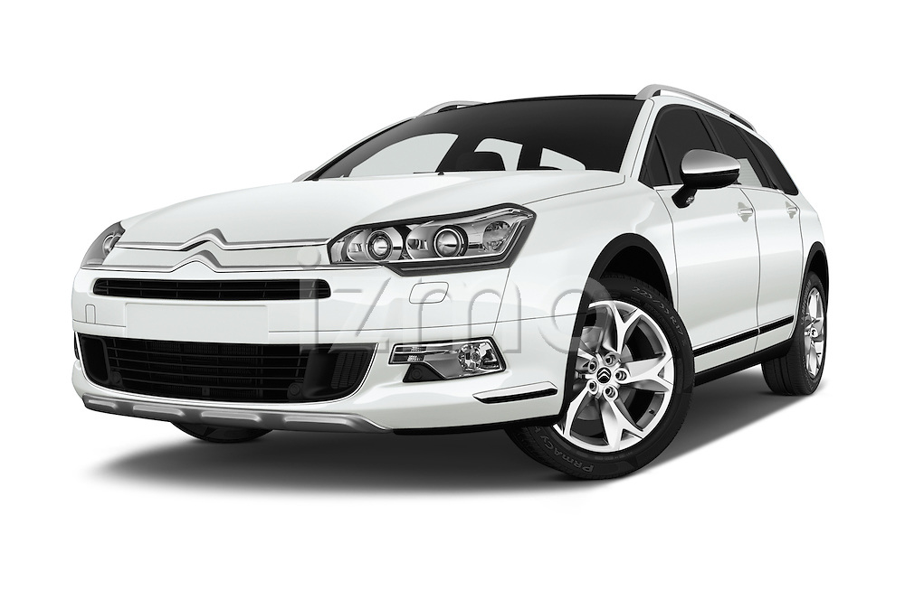 Stock pictures of low aggressive front three quarter view of 2016 Citroen C5-Tourer Hydractive-Exclusive 5 Door wagon Low Aggressive