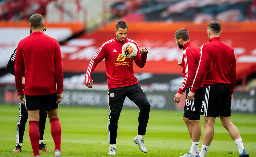 Sheffield United's Jack Rodwell warms up<br /> <br /> Photographer Alex Dodd/CameraSport<br /> <br /> The Premier League - Sheffield United v Chelsea - Saturday 11th July 2020 - Bramall Lane - Sheffield<br /> <br /> World Copyright © 2020 CameraSport. All rights reserved. 43 Linden Ave. Countesthorpe. Leicester. England. LE8 5PG - Tel: +44 (0) 116 277 4147 - admin@camerasport.com - www.camerasport.com