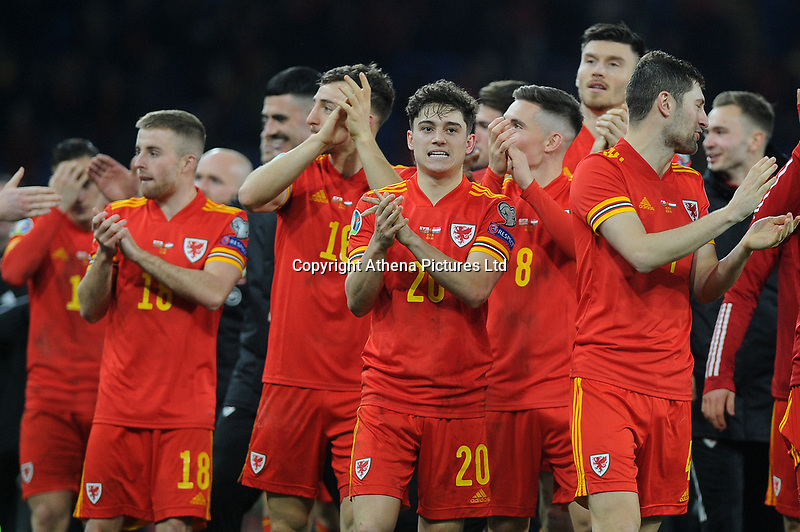 Daniel James of Wales celebrates at full time during the UEFA Euro 2020 Group E Qualifier match between Wales and Hungary at the Cardiff City Stadium in Cardiff, Wales, UK. Tuesday 19th November 2019
