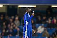 Kurt Zouma of Chelsea holds one finger up during the The Checkatrade Trophy match between Chelsea U23 and Oxford United at Stamford Bridge, London, England on 8 November 2016. Photo by Andy Rowland.