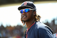 Boston Red Sox outfielder Hanley Ramirez (13) during a Spring Training game against the Pittsburgh Pirates on March 12, 2015 at McKechnie Field in Bradenton, Florida.  Boston defeated Pittsburgh 5-1.  (Mike Janes/Four Seam Images)