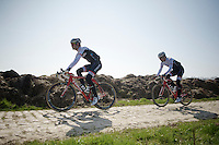 Jasper Stuyven (BEL/Trek Factory Racing) & Gert Steegmans (BEL/Trek Factory Racing) on the cobbles of the Orchies sector<br /> <br /> 2015 Paris-Roubaix recon