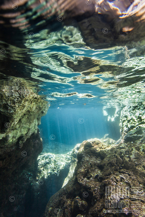 An underwater rock formation with reflection and sunbeams, Shark's Cove, O'ahu.