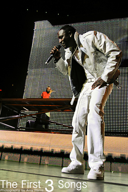 """Akon performs in Cleveland, Ohio at Quicken Loans Arena on Thursday May 12, 2011 as an opening act for Usher's """"OMG Tour""""."""