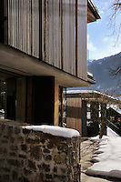 The contemporary chalet has views of the Alps