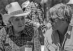"Tuolumne Meadows, August 24, 1985:  Actor Robert Redford and retired park ranger Herb Ewing talk.  Mount Ansel Adams, an 11,700 foot peak in a remote section of Yosemite National Park was dedicated Saturday, August 24, 1985, in a ceremony recognizing the famed photographer for his contribution to the American conservation movement. Adams was eulogized as a man who dedicated his life to photography and the preservation of planet Earth. The dedication ceremony was led by Adams' son, Dr. Michael Adams of Fresno, and attended by Adams' widow, Virginia Adams, Secretary of the Interior Donald Hodel, Sen. Alan Cranston, D-California, National Park Service Director William Penn Mott, actor Robert Redford, and other environmental and conservation leaders. In 1932, Ansel Adams and several Sierra Club companions first climbed the peak, according to Virginia Adams, who added that ""Ansel loved its tower shape. He called it 'The Tower' on the Lyell Fork of the Merced River. After they came down from climbing it, they sat around the campfire and one of them suggested that they name it Mount Ansel Adams."" Informally, that is what the Sierra Club did, calling the peak Mount Ansel Adams in the Sierra Club Guide until 53 years later the peak was finally officially named.  Photo by Al Golub/Golub Photography"