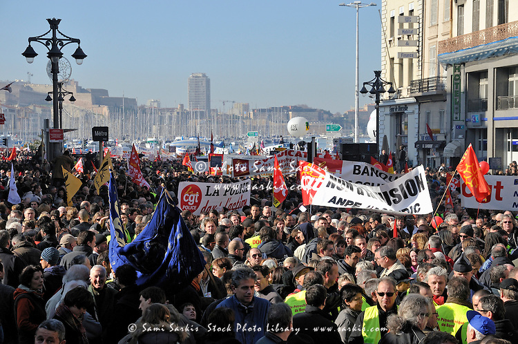 Crowds demonstrating over workers' rights on January 29th, 2009, in the old port of Marseille, France.