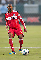 CARSON, CA – July 9, 2011: Chicago Fire defender Cory Gibbs (5)  during the match between LA Galaxy and Chicago Fire at the Home Depot Center in Carson, California. Final score LA Galaxy 2, Chicago Fire FC 1.
